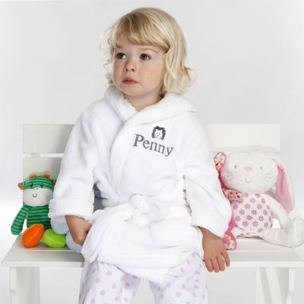 Personalised Child's Lion Dressing Gown In White